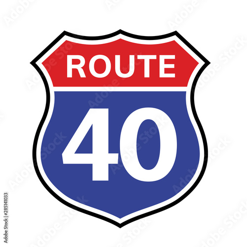 40 route sign icon. Vector road 40 highway interstate american freeway us california route symbol