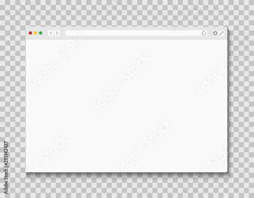 Web browser window. Computer or internet frame template design of flat page mockup. Blank screen web browser