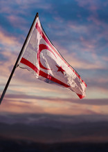 Northern Cyprus Flag, Turkish Republic Of Northern Cyprus Flag Waving On Sky At Dusk