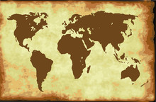 Old Retro World Map, Poster On Grunde Aged Paper Pattern