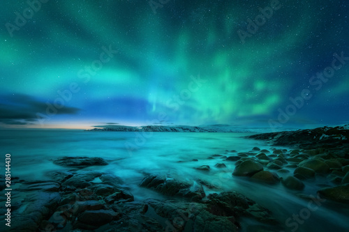 Foto auf Leinwand Nordlicht Aurora borealis over rocky beach and ocean. Northern lights in Teriberka, Russia. Starry sky with polar lights. Night winter landscape with aurora, sea with stones in blurred water, snowy mountains