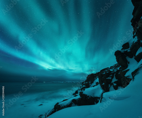 Foto auf Leinwand Nordlicht Aurora borealis over rocky beach and ocean. Northern lights in Teriberka, Russia. Starry sky with polar lights. Night winter landscape with aurora, sea with blurred water, snowy mountains. Travel