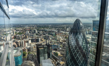 The Tip Of London's Iconic Gherkin Building From Up High. London