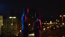 Young Couple Meeting In Night City, Falling In Love At First Sight, Fate Concept