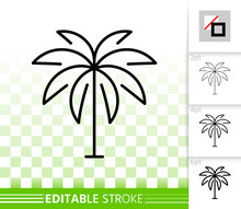 Geometric Palm Tree Simple Black Line Vector Icon