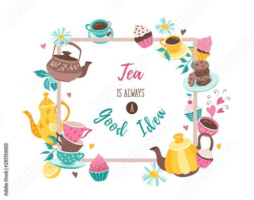 Fotomural tea square poster