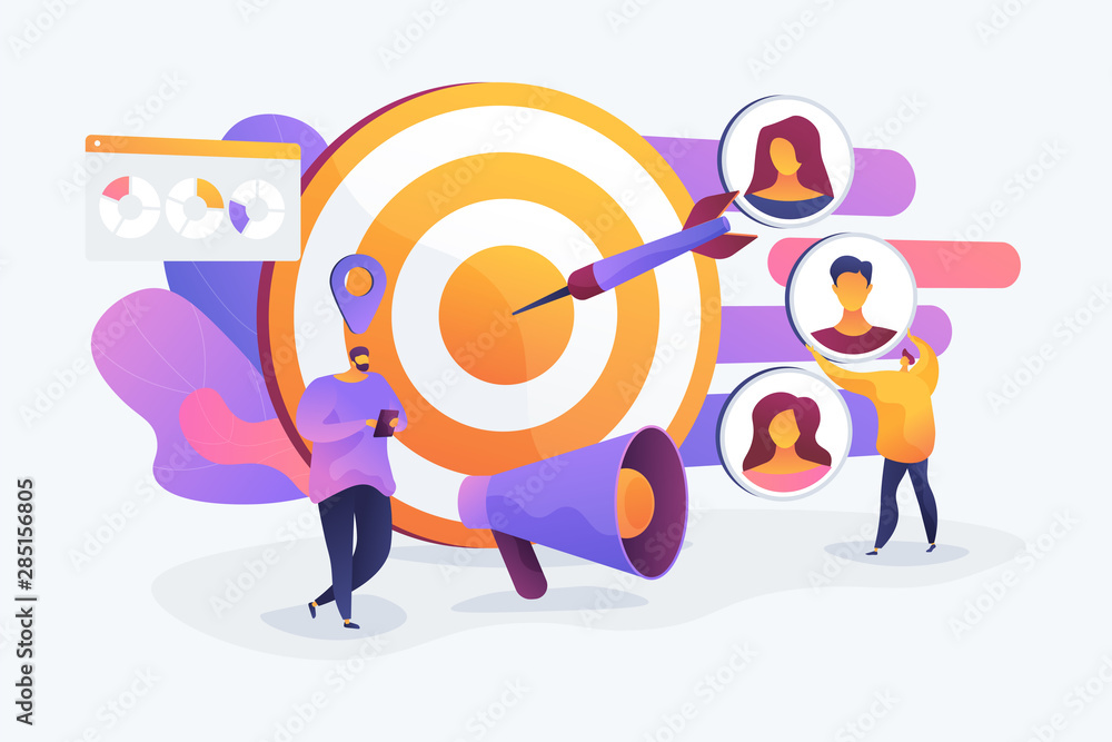 Fototapeta Customer attraction campaign, accurate promo, advertising business. Market segmentation, adverts, target market, target group, target customer concept. Vector isolated concept creative illustration