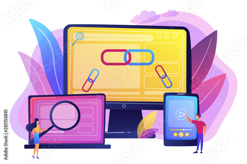 Fototapeta Online communication technology, internet business, marketing research. Link building, main SEO strategies, search engine optimization concept. Bright vibrant violet vector isolated illustration obraz