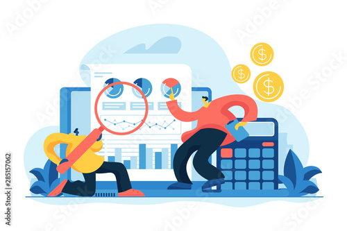 Financial and it audit. Auditors learning fin data of the company and analyzing charts. Financial statement, independent auditor, IT business solutions concept. Vector isolated concept illustration