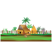 Hay Straw Hut And Vegetable Vector Design