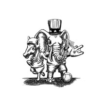 Mule And Elephant Mascot Wear American Event Costume Hand Drawn Illustration Poster Template, Rugby, Basket, Flag, Hat