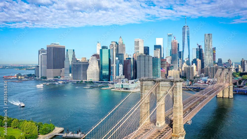 Fototapeta Aerial shot of lower Manhattan in New York