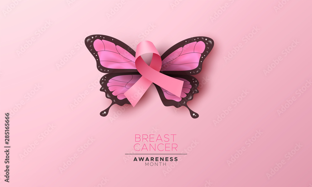 Breast cancer awareness pink butterfly wing ribbon