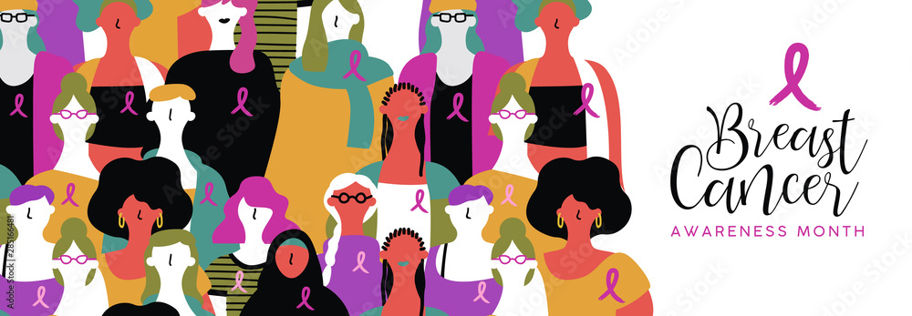 Fototapety, obrazy: Breast Cancer awareness banner of diverse women