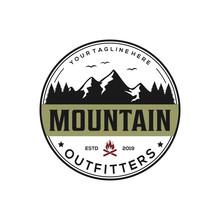 Mountain, Outdoor, Adventure Badge Logo Design
