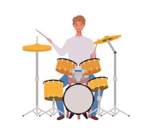 Young Man With Drum Kit On Whi...