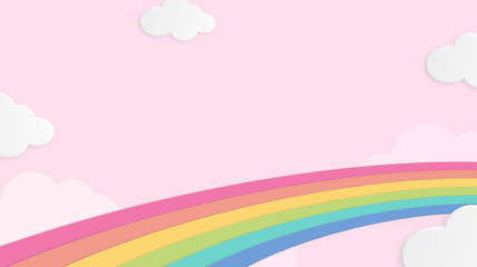 Abstract kawaii cool colorful cloud sky rainbow background. Soft gradient pastel cartoon graphic. Concept for children and kindergartens or presentation