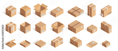 Obraz Big isometric delivery carton box set - fototapety do salonu