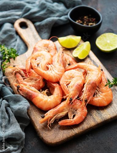 Shrimps served with lemon Canvas Print