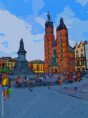 Poster Cracovie Old city Krakow art illustration retro vintage