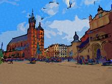 Old City Krakow Art Illustration Retro Vintage