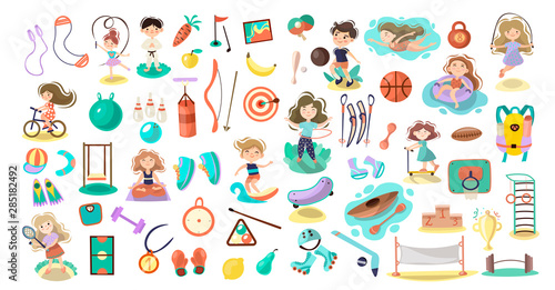 Kids Doing Sport Games Vector Cartoon Illustration Playing Jumping Swimming Boys And Girls With Sports Equipment Balls Sport Games And Summer Kids Activities With Equipment On White Background Buy This Stock