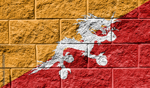 Photo sur Aluminium Rouge traffic Flag of Butane close up painted on a cracked wall