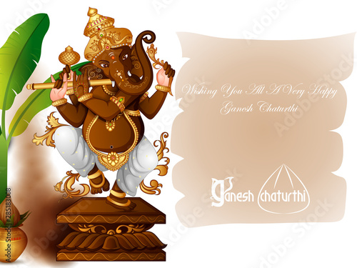 vector illustration of Lord Ganapati for Happy Ganesh Chaturthi festival religio Canvas Print