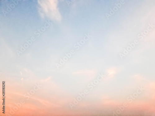 sky background, Cumulus white clouds in the blue sky at sunset, Cloudy sky with Fototapet