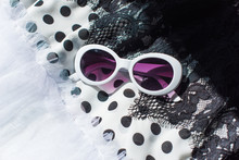 Black And White Glasses And Cloth With Lace Polka Dot