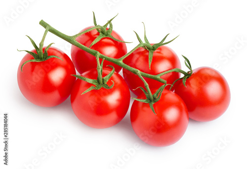 Fototapeta Branch of delicious fresh cherry tomatoes, isolated on white background obraz