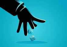 Businessman Hand Throwing Dices