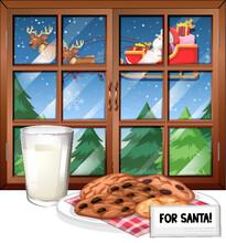 Window Scene With Santa On Sle...