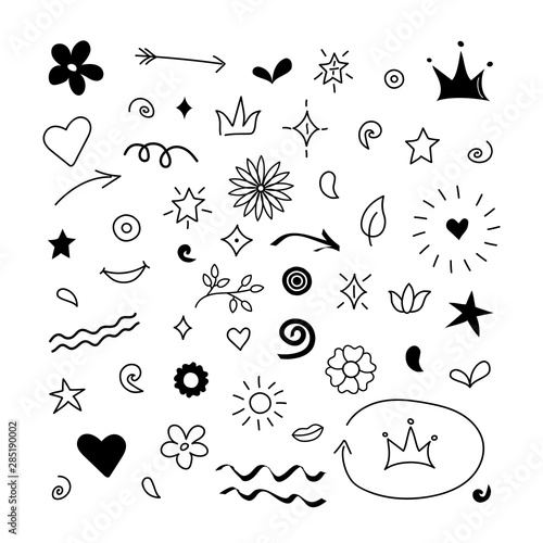 Doodle abstract arrows, swishes, swoops, flowers Wallpaper Mural