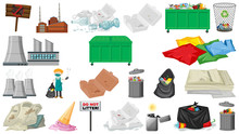Pollution, Litter, Rubbish And Trash Objects Isolated