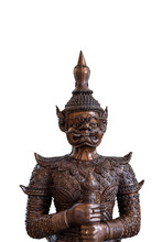 Close Up Of Face Of Tos-Sa-Kan From Ramakien Isolate On White Background. Brass Statue Of The Giant Statue In Thai Style, Thailand Literature Ramayana Traditional.with Clipping Path