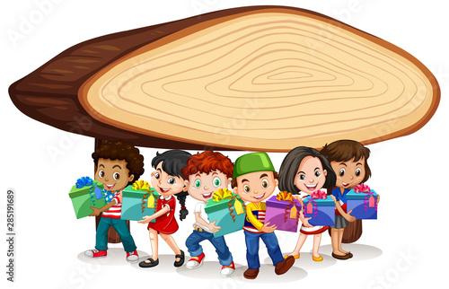 Fotografie, Obraz Blank banner design with happy kids
