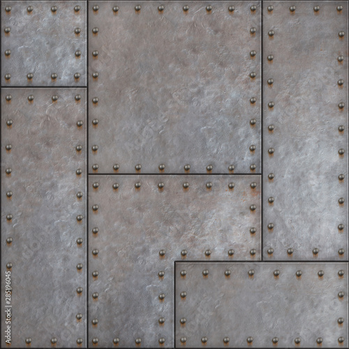 Papel de parede steampunk patched seamless metal background 3d illustration