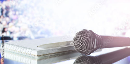 The microphone on the stage before debate. Fotobehang