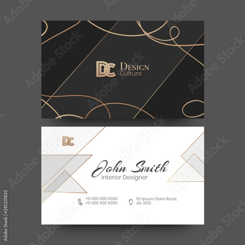 Front And Back View Of Interior Designer Business Card Or Horizontal Template Design Buy This Stock Vector And Explore Similar Vectors At Adobe Stock Adobe Stock