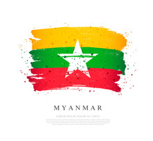 Myanmar Flag. Brush Strokes Are Drawn By Hand.
