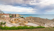 View at the ancient Amphiteater of Tarragona with the Mediterranean Sea in Spain