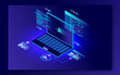 3D illustration of laptop with different programming language for Coding and Programming concept. Can be used as web banner or poster design.