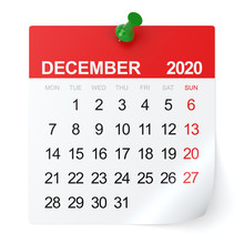 December 2020 - Calendar. Isolated On White Background. 3D Illustration