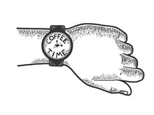 Hand With Wristwatch Coffee Time Sketch Engraving Vector Illustration. Scratch Board Style Imitation. Black And White Hand Drawn Image.