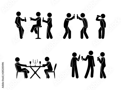 Slika na platnu people drink spirits drinks icon set, stick figure illustration bar, restaurant,