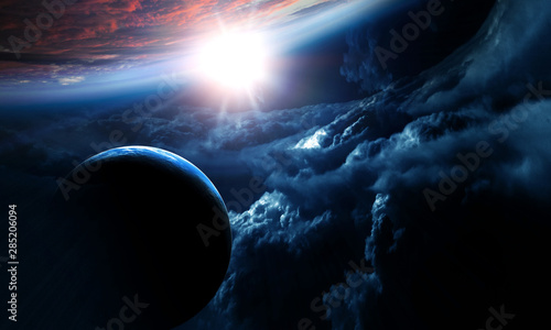 Fototapety, obrazy: Abstract planets on space texture