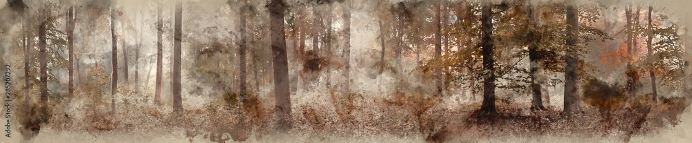 Fototapety, obrazy: Digital watercolor painting of Large colorful panorama foggy Autumn Fall forest landscape