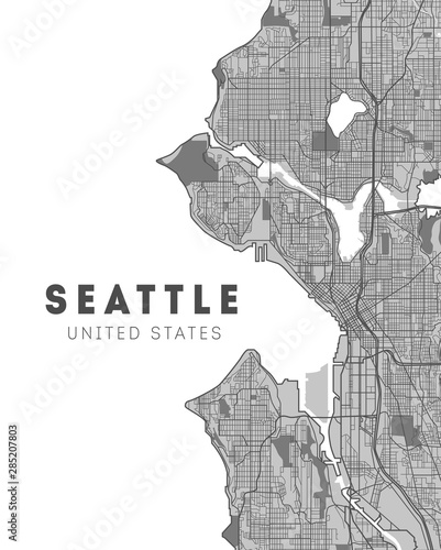 Canvas Print City map Seattle, monochrome detailed plan. Washington