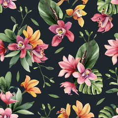 FototapetaSeamless pattern of yellow, rose orchid flowers and tropical leaves on dark background.